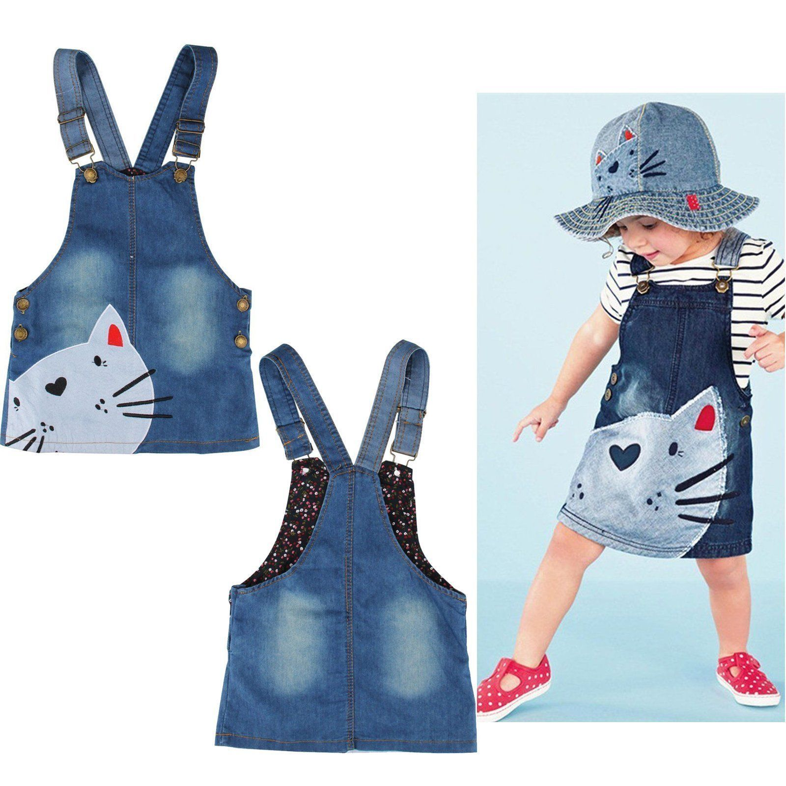 Kitty Baby Girl Denim Overall